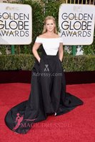 amy balls - AMY SCHUMER BLACK AND WHITE SATIN PLUS SIZE PROM BALL GOWN GOLDEN GLOBES Off Shoulder Ruffled Formal Evening Celebrity Dresses