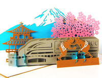 beautiful postcards - New arrive tourist souvenir card postcard beautiful japanese Fuji Mountain Culture paper sculpture d greenting cards