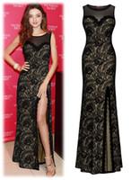 Wholesale Women Dress Lace Long Black Sleeveless Prom Dresses Sexy Beautiful Evening Dress Women s Robes Soiree Fashion Style