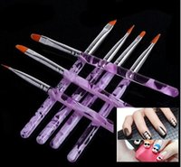 Wholesale 7pcs set Professional Uv Gel polish nial Brush purple Nail Art acrylic Painting Draw Brush Nail Tools set high Quality