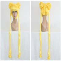 al por mayor pelucas largas amarillas-Alta calidad de anime de Sailor Moon amarillo limón dos trenzas de largo ondulado peluca 140CM ePacket gratuito