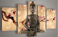Wholesale Framed Hand painted High Quality Modern Abstract Figure Oil Painting on Canvas Home Wall Decor Art Paintings Religion Buddha set