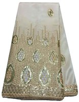 Wholesale cheap African George lace fabric in white Yards Wedding Lace fabric with Soft indian George materialc WKS24