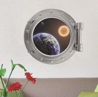 art cabin - 3D View Creative Space Ship Window Spacecraft Cabin Home Décor Removable Wall Sticker Decal DIY Mural Art
