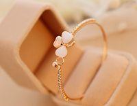 beautiful opals - 2015 New Korea beautiful bow sweet clover bracelet inlaid opal bracelets