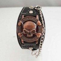 antique skeleton clock - Leather Analog Quartz WristWatches Skeleton Cool Punk Skull Watch Antique Cover Design Watch For Men Fashion Male Clock