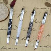 acrylic roller ball pen - Acrylic Silver Clip Roller Ball Pen Stationery Office School Supplies Metal Writing Brand Pens for Gift Free Velvet Bag