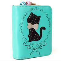 Wholesale carteira feminina cute carton cat women wallet short and long women purse women card holder zipper card holder coin purse