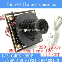Wholesale 1 MP TVL AHD P mini night vision Camera Module quot CMOS mm wide angle degrees CCTV camera OSD Cable