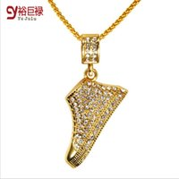asian style shoes - Hot Sale K Gold Plated Hip Hop Style Thick Gold Plating Shoes shoes hip hop Pendant Necklace Jewelry Long Chain Jewelry Christmas Gift