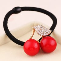 big holder - Fashion Big Imiation Pearl Crystal Cherry Hair Rubber Kroen Hair Jewelry Lovely Ponytail Holder Hairband Hair Rope Hair Jewelry