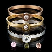 Wholesale colors Top Quality l Stainless Steel Interchangeable CZ Stone Bangle Bracelet For Women Party Gift