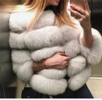 cape coat plus size - New Fashion Autumn Winter Coat Warm Three Quarter Sleeves Womens Fur Coat Outwear Plus Size Capes Poncho Jackets for Women FS0772