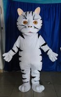 Wholesale Adult Size white cute animal Cat Costume Halloween Christmas OEM Cartoon Mascot Clothing Party Fancy Dress