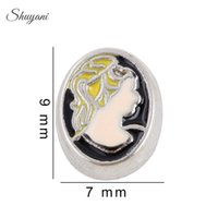 beauty memories - Beauty Head Charms Pendant DIY Floating Locket Charms for Bracelet Memory Locket Necklaces Silver Plated Jewelry Making