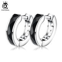agate hoop earrings - Top Quality Black Agate Earring Earrings Fashion Sterling Silver on Platinum Plated Fashion Jewelry Wholesaler OE83