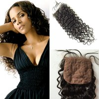 Cheap Grade 7A brazilian silk base lace closure unprocessed hair deep wave closure bleached knots free part