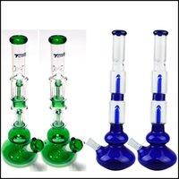 pipe en verre d'eau avec un style de pneus et nid d'abeille diffuseur en verre percolateur Fabrication Vert Bleu bongs / fumeur 19cm pipe