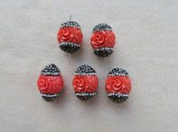 Wholesale 10 Resin Carved Engraved Flower Connector Spacer Beads Pave Rhinestone Charms DIY Making Bracelet necklace BD85