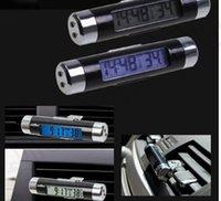 Wholesale LJJK300 Clip on Clock Thermometer Calendar Car Auto Bicycle Digital LCD Backlight Automotive Thermometer Clock Calendar UF with Battery