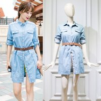 Wholesale 2016 Hot Newest Soild Casual Jean Dress Fashion Denim Street Style Blue Summer Dress Short Sleeve Women Dress Pretty Letter Print Dress