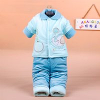 baby clothes pins - Baby cotton two piece suit Lapel Pin baby winter cotton padded jacket newborn clothing full moon thickened out