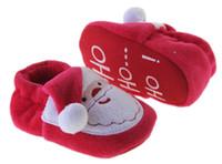 anti slip fabric - FREE DHL Baby Christmas shoes White long Suede Santa Claus shoe Soft bottom Anti skid Baby toddler shoes