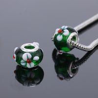 Wholesale Silver DIY thread Murano Glass Beads Charms fit Europe pandora Bracelets necklaces extanpaa flfaocma