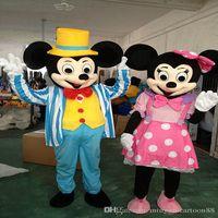 Traje de la historieta 2016 Nueva boda del estilo de Disney Mickey Minnie Mouse traje de la mascota de Minnie Mouse Rosa Azul de tamaño adulto