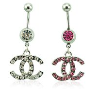 belly barbells - Body Piercing Fashion Belly Button Rings Surgical Steel Barbells Dangle Style Rhinestone Letter Navel Rings Jewelry