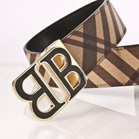 Wholesale 2016 brand mens classic fashion b belt with smooth v buckle geunine leather belts for men