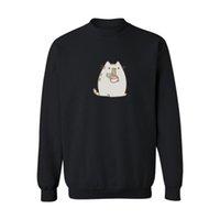 autumn meals - Cartoon Lazy Cat have a meal print unsex Hooded and Sweatshirts xl in Black Gray Men Sweatshirt Autumn Winter Street Wear XS