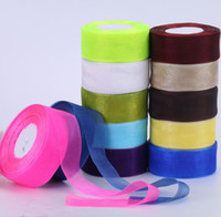 Wholesale 45yard roll Width MM organza ribbon bow headdress Material chiffon clothing accessories DIY transparent gifts wedding decoration E86