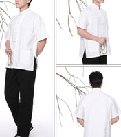 Wholesale off Chinese traditional costume Wushu KongFu clothing coarse cloth short sleeve T shirt white black