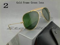 best mens eyewear - Best Quality Designer Pilot Sunglasses For Mens Womens Outdoorsman Sun Glasses Eyewear Gold Green mm Glass Lenses With Box