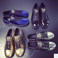 Wholesale Hot New Men Casual Shoes Fashion Metal Sequins Leopard Head Man Flats Shoes Black Silver Gold Chaussure Homme M518