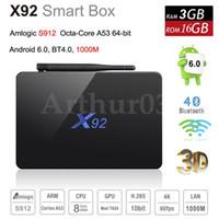 Wholesale 3GB GB X92 Amlogic S912 Octa Core bit Android TV BOX G Dual Wifi HDMI K VP9 H BT4 KODI Smart Media Player G H96 S905X