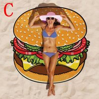 Wholesale Round Beach Towel Pizza Hamburger Printed Thin Chiffon cm Beach Round Towels Scarf serviette de plage bain para playa toallas HHA917