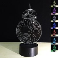 Wholesale Star Wars Toys Starwars Kids Lighting The Force Awakens BB Droid Robot LED Lights D Colorful Light Touch Lamp Night Light Fast Shipping
