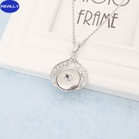 Wholesale REALLY White Antique Silver Plated Noosa Flower Style With MM Snap Button Necklace DIY Jewelry