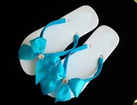 Wholesale Wedding flip flops sandal blue rhinestone satin ribbon bride bridemaid gift wedding sweetsixteen quinceanera birthday reception confirmation