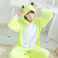 Wholesale Flannel Anime Pijama Cartoon Cosplay Warm Hood Onesies Sleepwear Adult Unisex Homewear Cute Frog Animal Pajamas women onesie men