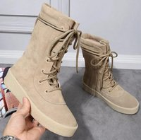 Wholesale 2016 Winter Vintage Lovers Style Nubuck Leather Chelsea Boots Lace Up Kanye West Ankle Boots Platform Casual Boots Men High top Martin boots