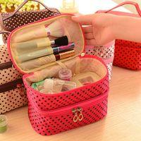Wholesale Fashion Double deck Travel Toiletry Beauty Cosmetic Bag Makeup Case Organizer Zipper Holder Handbag
