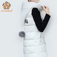 ball pad printing - 2016 Winter Coat Women Long Cotton Padded Vest Large Fur Ball Hooded Sleeveless Wadded Jacket Letter Print Outerwear Plus Size