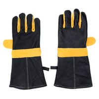 working leather gloves - Hot Sale Multifunction Gloves Pair Heat Resistant Long Sleeve Leather Oven Mitts Microwave Gloves for BBQ Kitchen Work