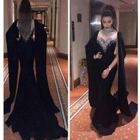 beautiful flow - 2016 Beautiful and Elegant Black Mermaid Evening Dress Formal Gowns with Shining Crystals and Sequins Prom Dress with flowing Sleeves