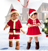 Wholesale 2016 yrs baby girls christmas outfit Santa Claus baby boy costume children clothing Xmas gift