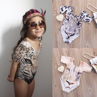 Wholesale 2016 Ins Baby Girl Rompers Cartoon D Tiger Swimwear Girls One piece Swimwear Kids Children Swimsuit