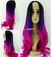 Wholesale Most Popular Cheap Ombre Wig Womens Lady s Long Wavy Hair Wigs synthetic gradient Hair Wigs Soft Degree Black purple rose red